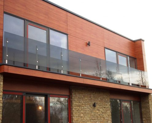 Private house balconie handrails with stainless steel frame