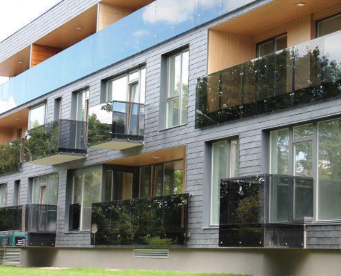 Apartment glass and aluminum handrails