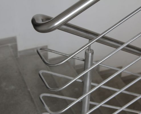 Stainless steel staircase handrail from office building