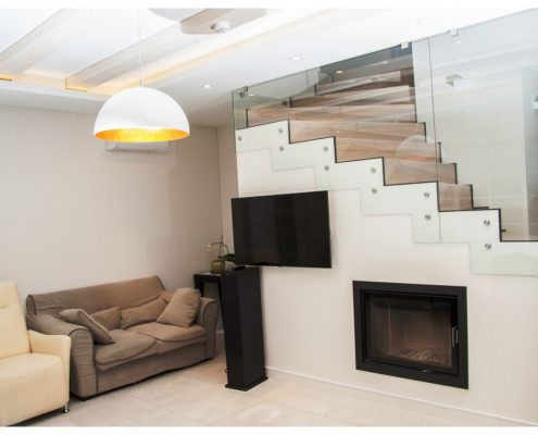 Log house living room interior