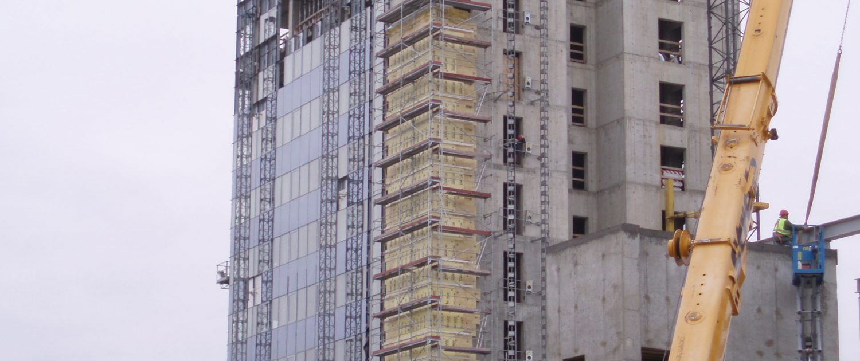 Wall insulation installation on progress