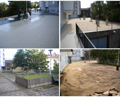 Terrace liquide appdied waterproofing installation, Sweden