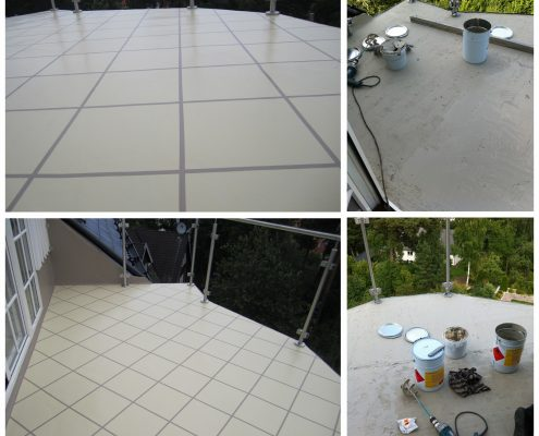 """Private house liquide applied waterproofing installation with """"tile"""" imitation, Sweden"""